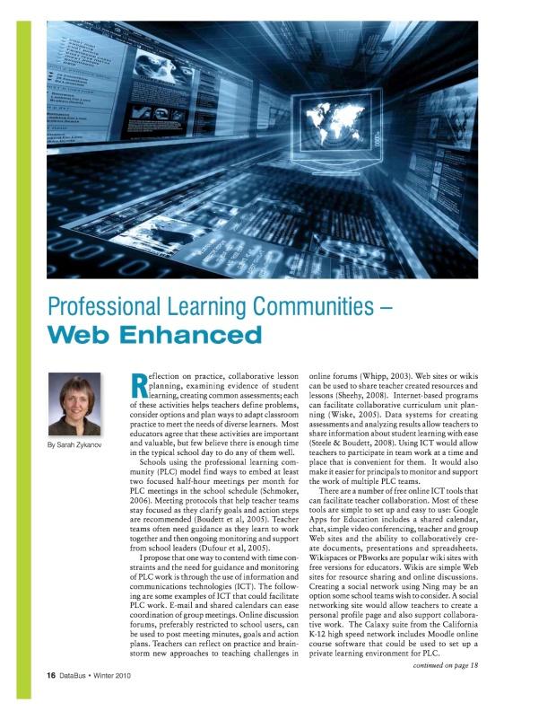 Professional Learning Communities: Web Enhanced - Databus Winter 2010