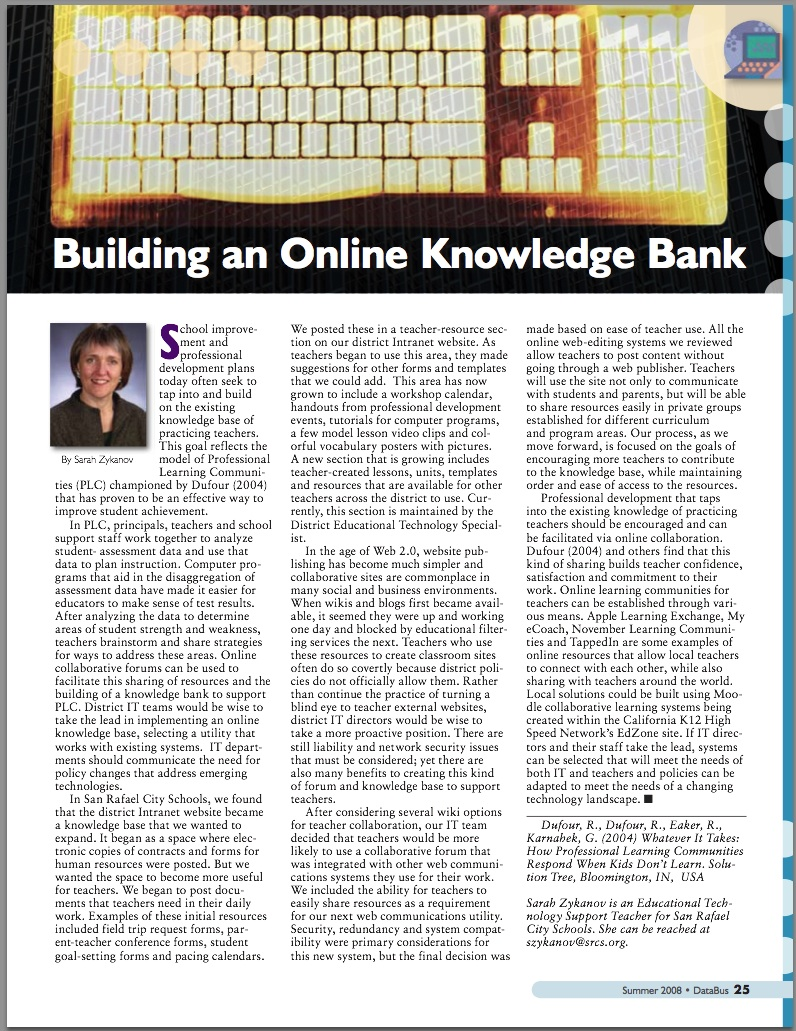Building an Online Knowledge Bank - DataBus Summer 2008